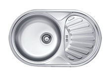 TWIST 1-BOWL S/S SINK WITH DRAINING BOARD, WITH FITTINGS, SATIN