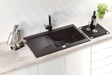 Chiuveta Granit RAPSODIA 1-BOWL SINK WITH DRAINING BOARD, WITH FITTINGS, METALLIC GRAFITE GRANITE