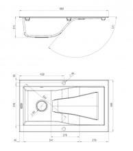 Chiuveta Granit RAPSODIA 1-BOWL SINK WITH DRAINING BOARD, WITH FITTINGS, METALLIC GRAFITE GRANITE
