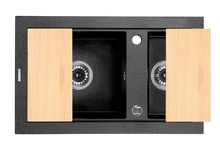 COUNTRY Chiuveta Granit SINK 1,5 BOWL WITHOUT DRAINING BOARD, WITH FITTING, GRAPHITE GRANITE