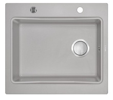 MODERN 1-BOWL SINK WITHOUT DRAINING BOARD, WITH FITTINGS, METALLIC GREY GRANITE
