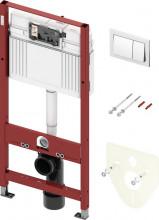 Pachet de WC TECEbase cu rezervor Base, inclusiv clapetă crom, set de izolație fonică și sistem de fixare, instalare la H 1.12 m