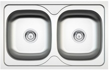 POPULARNY 2-BOWL S/S SINK WITHOUT DRAINING BOARD, WITH FITTINGS, SATIN