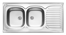 TANGO 2-BOWL SINK WITH DRAINING BOARD, WITH FITTINGS, SATIN