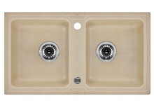 ZORBA 2-BOWL SINK WITHOUT DRAINING BOARD, WITH FITTINGS, SANDY GRANITE