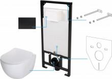 Peonia Zero Set 6 in 1 vas WC, capac, cadru, clapeta - finisaj negru, sistem prindere si membrana acustica