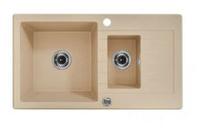 ZORBA 1,5-BOWL SINK WITH DRAINING BOARD, WITH FITTINGS, SANDY GRANITE