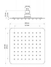 Floks dispersor fix - patrat crom anticalcar 20*20 cm