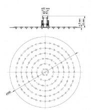 Floks dispersor fix - rotund crom anticalcar 30 cm diametru