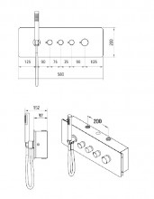 Multi-System termostatic baterie dus cu 3 functii finisaj crom