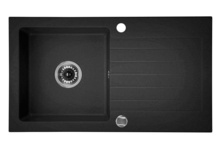ZORBA 1-BOWL SINK WITH DRAINING BOARD, WITH FITTINGS, GRAPHITE GRANITE