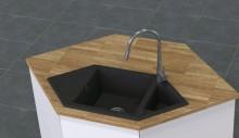 Hexon Chiuveta Granit 1,5-bowl sink with drainer Finishing: metallic graphite