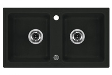 ZORBA 2-BOWL SINK WITHOUT DRAINING BOARD, WITH FITTINGS, GRAPHITE GRANITE