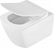 Anemon zero Set 6 in 1 vas WC, capac, cadru, clapeta finisaj alb, sistem prindere si membrana acustica