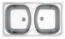 TECHNO 2-BOWL S/S SINK WITHOUT DRAINING BOARD, WITH FITTINGS, SATIN