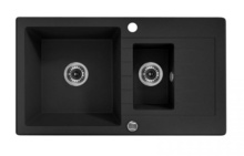 ZORBA 1,5-BOWL SINK WITH DRAINING BOARD, WITH FITTINGS, GRAPHITE GRANITE
