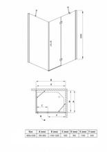 Cabina de dus dreptunghiulara 80*120cm kta044p Abelia