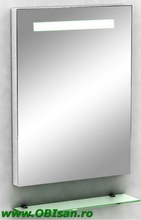 Oglinda cu iluminare indirecta si etajera80x60 cm