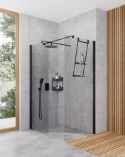 Paravan de duș walk-in, finisaj negru din seria Kerria