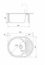 TWIST 1 chiuveta ovala cu o cuva si picurator ZEU_311C