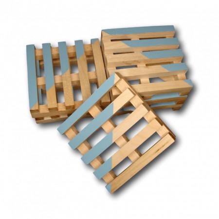 Set suport pahare lemn palet 6 bucati - albastru