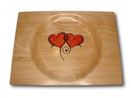 Farfurie decorativa din lemn - two hearts