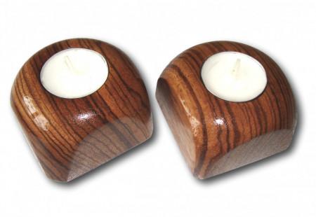 Set suport din lemn exotic pentru lumanari