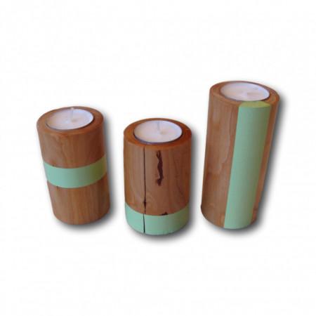 Suport pentru lumanari set 3 buc lemn cires