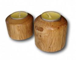 Suport cilindrici din lemn pentru lumanari