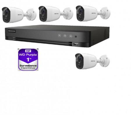 Kit Supraveghere HikVision 2 MP 3 camere + 1 GRATIS de exterior cu alarma si senzor PIR MK610