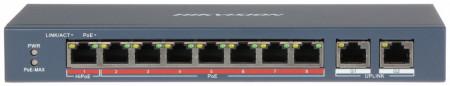 Switch 8 porturi HiPoE Hikvision carcasa din plastic DS-3E0310HP-E