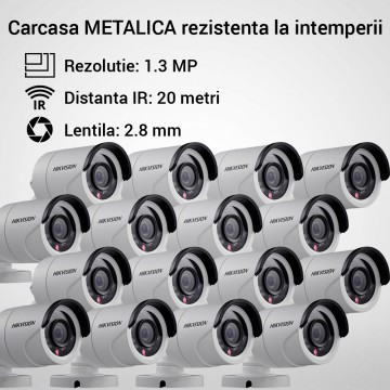 Poze Kit Hikvision CCTV 16 camere bullet TurboHD 1.3MP MK059-KIT09