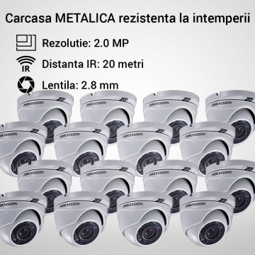 Poze Kit Hikvision CCTV 16 camere dome TurboHD 2.0MP MK066-KIT16