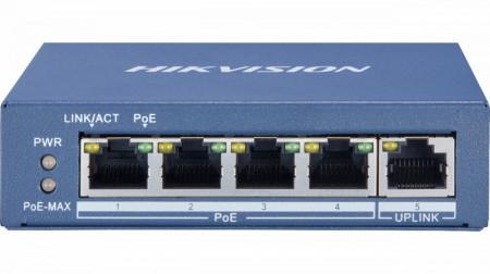 Switch 4 porturi PoE Gigabit Hikvision DS-3E0505P-E/M