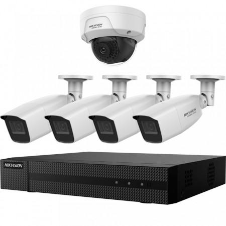 Kit HikVision HiWatch 4 camere analogice 4MP + camera IP 2 MP IR 30-40m MK-H022