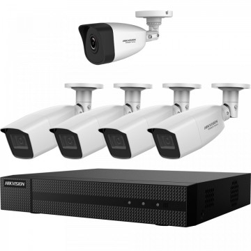 Kit HikVision HiWatch 5 camere bullet 4 analogice 1 IP 2MP IR 30-40m MK-H027