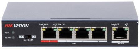 Switch 4 porturi PoE Hikvision DS-3E0105P-E/M