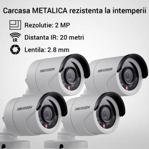 Kit Hikvision CCTV 4 camere bullet TurboHD 2.0MP MK062-KIT12