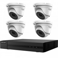 Kit HikVision HiWatch 4 camere metalice turret 4MP IR 40m MK-H017