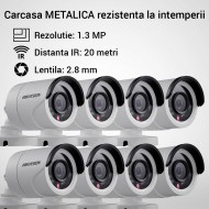 Kit Hikvision CCTV 8 camere bullet TurboHD 1.3MP MK056-KIT06