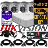 Kit Hikvision CCTV 4 Camere Dome TurboHD 1080p DS-56D0T04HQHI-F1/N/IRP
