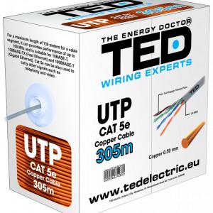Cablu UTP TED Cat. 5E, 8 fire, cupru integral UTPTEDCcat5