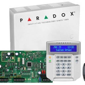 Kit Centrala Magellan Paradox 5 intrari pe placa cutie tastatura si telecomanda MG5050(CT)+K32LCD+REM15