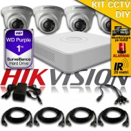 Kit Hikvision CCTV 4 Camere Dome TurboHD 720p DS-56C0T04HGHI-F1/IRP