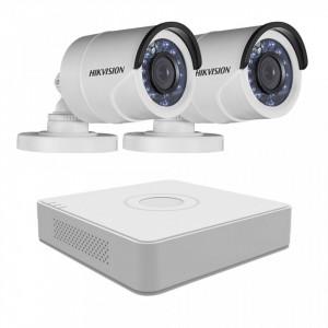 Sistem supraveghere exterior Hikvision 2 camere 1.3MP MK077-KIT26
