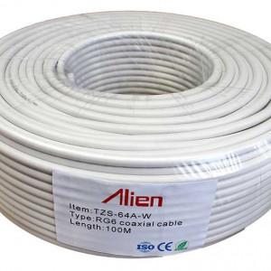 Cablu ALIEN coaxial RG6 alb 100 metri TZS-64A-W