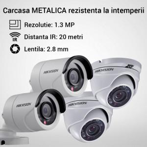 Kit Hikvision CCTV 4 camere bullet/dome TurboHD 1.3MP MK052-KIT02