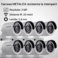 Kit Hikvision CCTV 8 camere bullet TurboHD 2.0MP MK065-KIT15