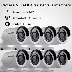 Kit Hikvision CCTV 8 camere bullet TurboHD 2.0MP MK065-KIT15