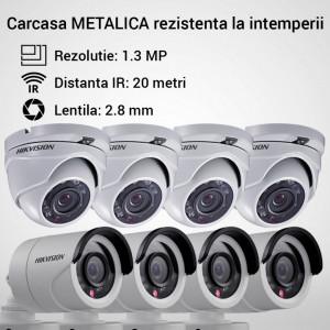 Kit Hikvision CCTV 8 camere dome/bullet TurboHD 1.3MP MK055-KIT05